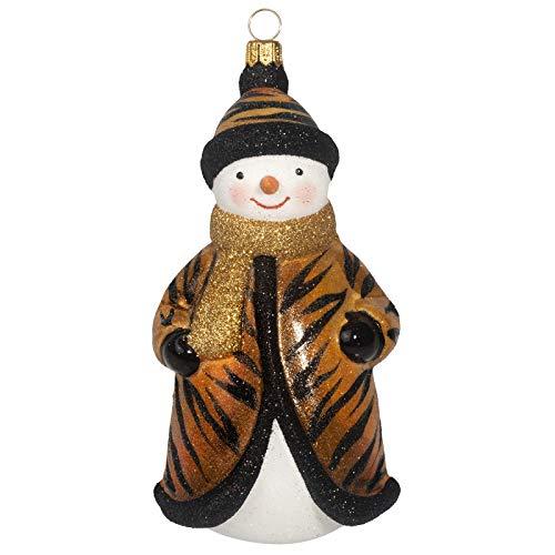 Joy to the World Collectibles Glitterazzi Tigress Snowman Polish Glass Christmas Ornament