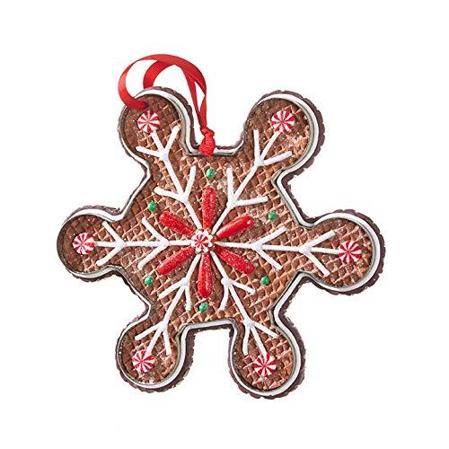 Raz Gingerbread Holiday Snowflake Christmas Ornament Decoration