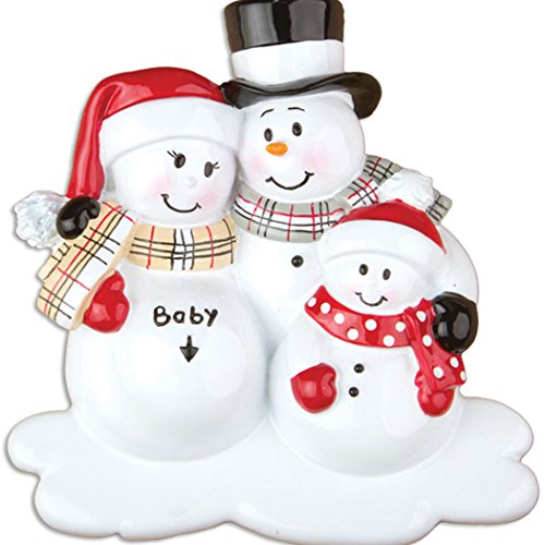 Personalized We're Expecting with 1 Child Christmas Tree Ornament 2019 – Pregnant Snowman Family Love Bump New Baby Coming Shower Boy Girl Gender Neutral 2nd Second Gift Year – Free Customization