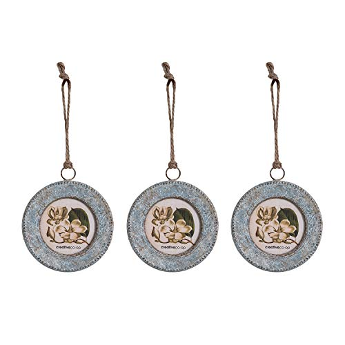 Creative Co-op Photo Frame Leather Hanger, Set of 3 Metal Ornaments, Silver