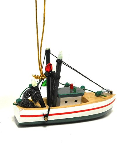 Wood Fishing Shrimp Boat Christmas Holiday Ornament Cape Shore