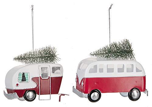 Ganz Santa's Ride Van and Camper Ornaments Set of 2 Assorted