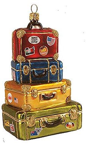 Pinnacle Peak Trading Company Stack of Suitcases Polish Glass Christmas Tree Ornament Travel Decoration Poland