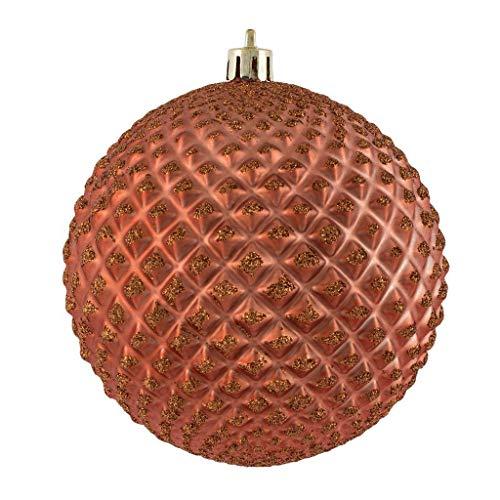 Vickerman 624975-4″ Coral Durian Glitter Ball Christmas Tree Ornament (6 pack) (N188571D)