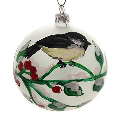 Christina's World Snowy NEST Glass Christmas Ornament Bird Berries Win669