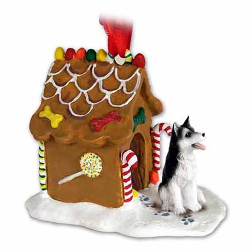 Conversation Concepts Siberian Husky Gingerbread House Christmas Ornament Black-White Brown Eyes – Delightful!