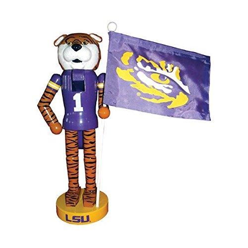 Santa's Workshop 12″ LSU Mascot & Flag Nutcracker (Resin, Wood, & Nylon)