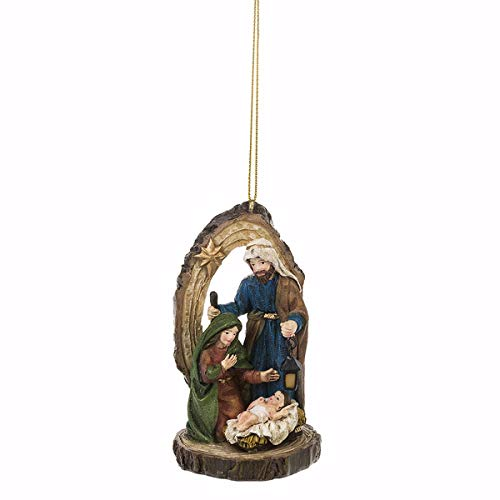 Midwest-CBK Holy Family Natural Brown 4 x 2 Resin Stone Christmas Hanging Ornament