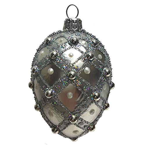 Pinnacle Peak Trading Company Mini Silver Jeweled Faberge Inspired Egg Polish Glass Christmas Tree Ornament