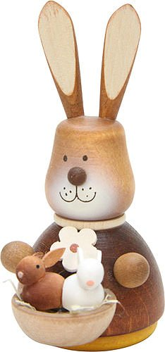 Authentic German Erzgebirge Handcraft Small Figures & Ornaments Teeter Bunny Babies Natural – 9,8cm / 3.9inch – Christian Ulbricht