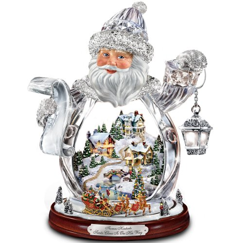 The Bradford Exchange Thomas Kinkade Santa Claus Tabletop Crystal Figurine: Santa Claus is On His Way
