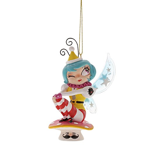 Enesco The World of Miss Mindy Mushroom Fairy Stone Resin. Hanging Ornament, Multicolor