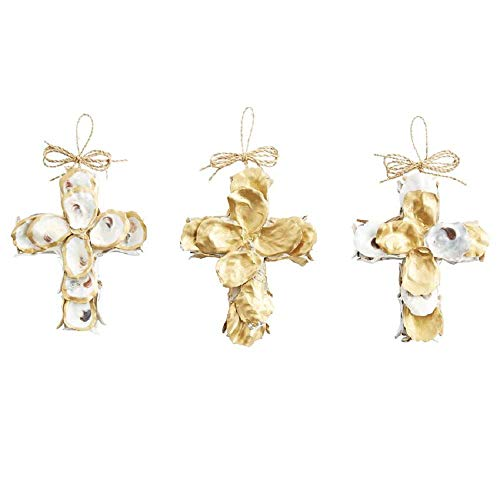 Mud Pie Christmas Oyster Cross Ornament (Gold Edge)