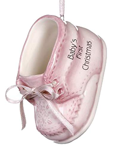 Ganz U.S.A., LLC Baby Girl's First Christmas Pink Baby Shoe Ornament for Holiday Tree Decor Xmas Gifts 2019