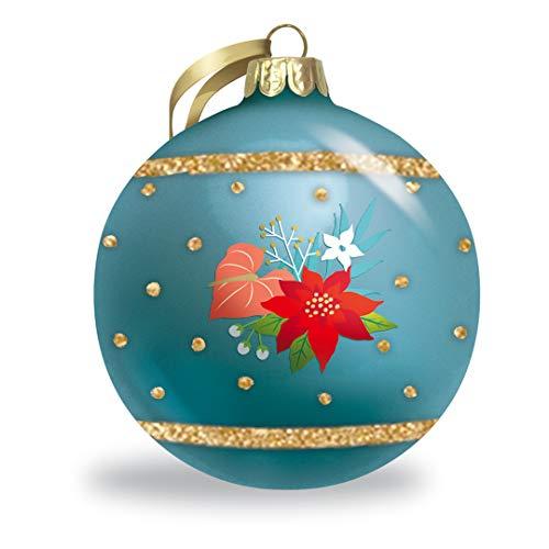 Island Heritage Floral Holiday Hawaiian Christmas Holiday Collectible Glitter Glass Ball Ornament