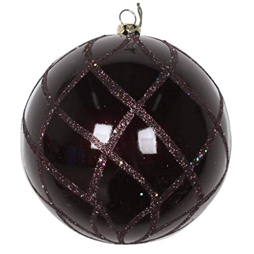 Vickerman 613580-4″ Chocolate Candy Glitter Net Ball Christmas Tree Ornament (3 pack) (MT198075D)