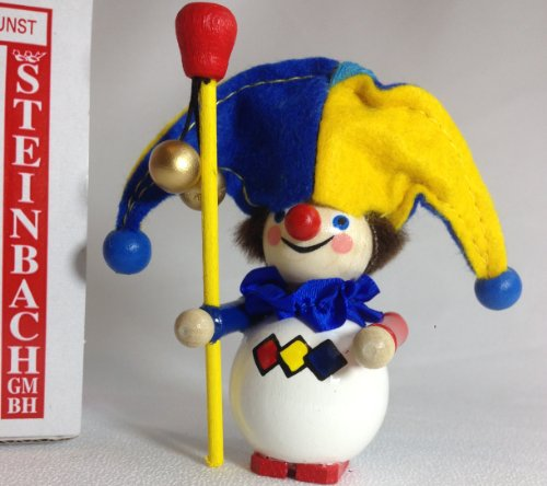 Steinbach Hand Made German Wooden Christmas Ornament Jester Clown Fool Village Idiot