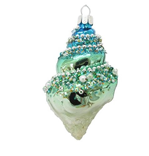 December Diamonds Snail Shell with Jewels Glass Christmas Ornament Seashell New
