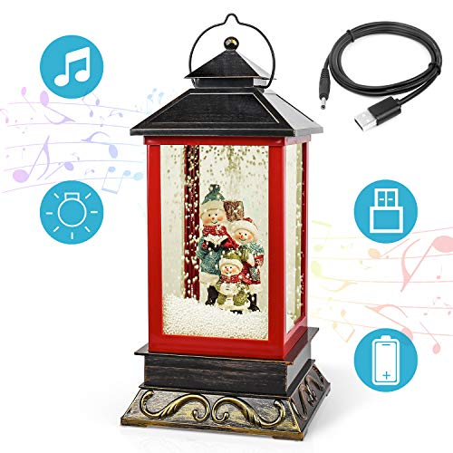 """Micbox 16.5"""" Christmas Snow Globe Lantern, Musical Singing & Operated Battery Lighted Christmas Snowmen Globe Lantern for Home Decoration and Gift (Black)"""