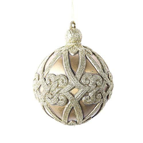 Vickerman 621479-8″ Champagne Antique Swirl Ball Christmas Tree Ornament (MC194038)
