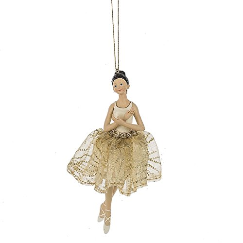 MIDWEST-CBK Graceful Ballerina Goldtone Sparkle 6 Inch Resin Christmas Ornament Figurine