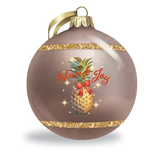 Island Joy Hawaiian Christmas Holiday Collectible Glitter Glass Ball Ornament
