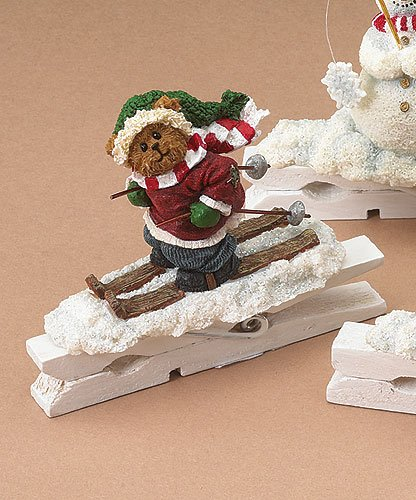 Boyds Bears Skiing Bear Clothespin Ornament Retired 257211