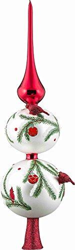 Joy To The World Glitterazzi Red Cardinal Bird Finial Polish Glass Christmas Tree Topper 16 Inch