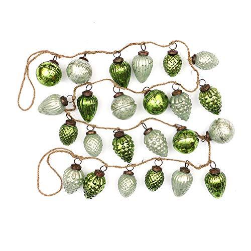 Creative Co-op Distressed Green Embossed Mercury Glass Ornament Rope String Garland, (Renewed)