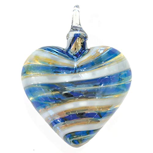 Glass Eye Studio Limited Blue Gold Twist Designer Heart Ornament