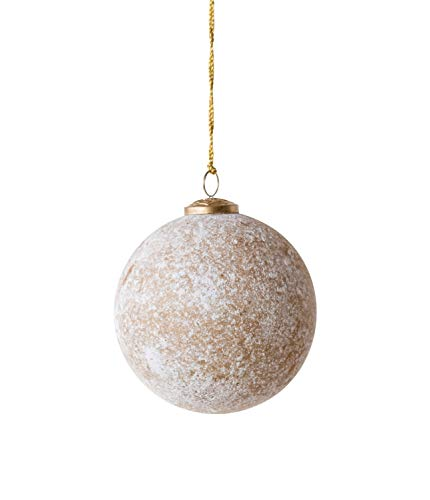 Creative Co-op Marbled Antique Silver Ball Glass Ornaments