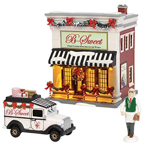 Department56 Original Snow Village B-Sweet Shop Lit Building and Accessories, 6.97″, Multicolor