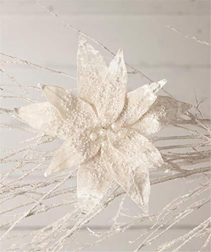 Bethany Lowe Ivory 10″ Velveteen Poinsettia Clip-On Floral Flower Winter Christmas