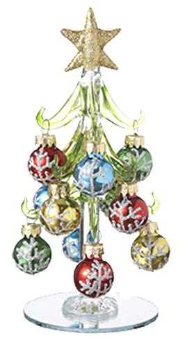 Ganz U.S.A., LLC Mini Table Top 6 inch Glass Christmas Tree with 12 Glitter Silver or Gold Ornaments with Mirrored Base (Silver Snowflakes)