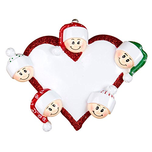 Heart with Faces 5 Personalized Christmas Tree Ornament