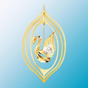 24K Gold Plated Swan Lemon Ornament – Swarovski Crystal