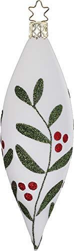Inge-Glas Olive Christmas Leaf 6″ Porcelain White Matte 21026T053 German Glass