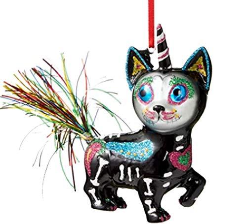 Holiday Lane Day of The Dead Sugar Skull Cat Unicorn Ornament