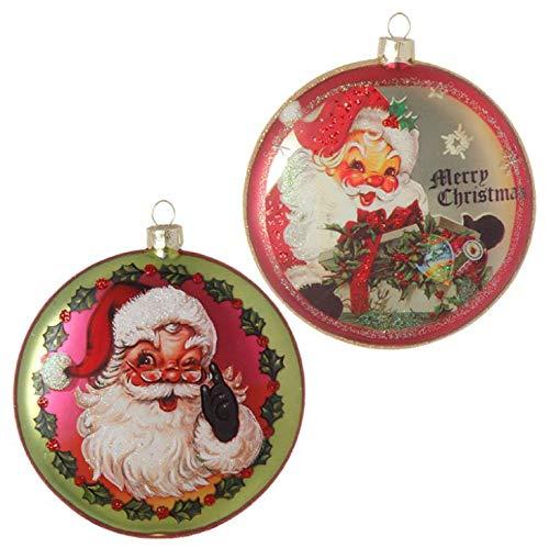 RAZ Imports Set of Two – 4″ Vintage Santa DISC Glass Christmas Ornament (3752851)