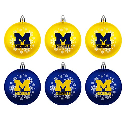 Topperscot Michigan Wolverines Official NCAA Holiday Christmas 6 Pack Shatterproof Ornament 769219