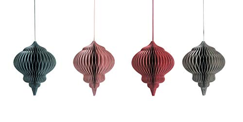 Creative Co-op Paper Honeycomb Finial (Set of 4 Colors) Misc Ornaments, Red