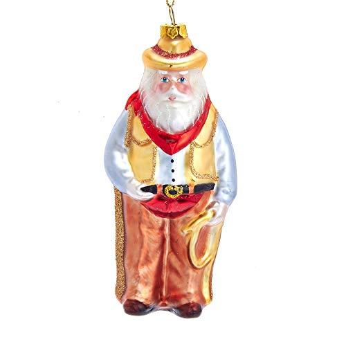 Kurt Adler 5.47-inch Glass Cowboy Santa with Rope Ornament