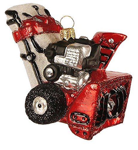 Pinnacle Peak Trading Company Red Snow Blower Polish Glass Christmas Tree Ornament Snowblower Made in Poland