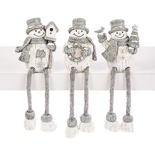 Ganz Sparkle Woodland Snowman Shelf Sitters Set of 3 Assorted