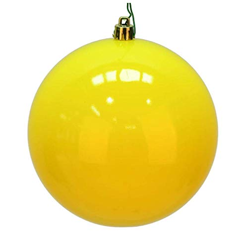 Vickerman 624272-6″ Yellow Shiny Ball Christmas Tree Ornament (4 pack) (N591578DSV)