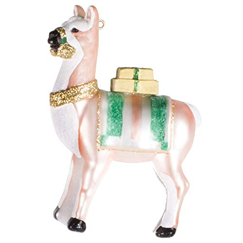 8 Oak Lane Peach Green Llama 4 x 5 Glass Decorative Hanging Ornament