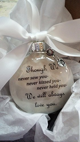 Miscarriage Gift In Memory Christmas Ornament Though We Never Saw You w/Baby Footprints Charm
