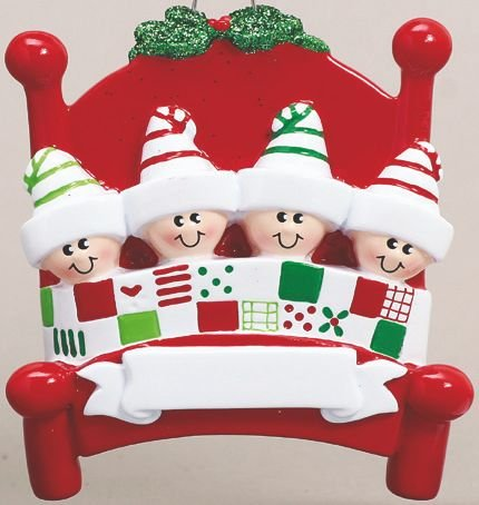 Bed Head Family of Four(4) Personalized Christmas Ornament-Free Personalization and Gift Bag Included