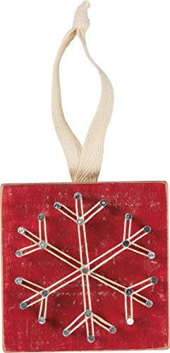 Primitives By Kathy 3 Inches Square Fabric Metal Wood String Art – Red Snowflake Decorative Hanging Ornaments