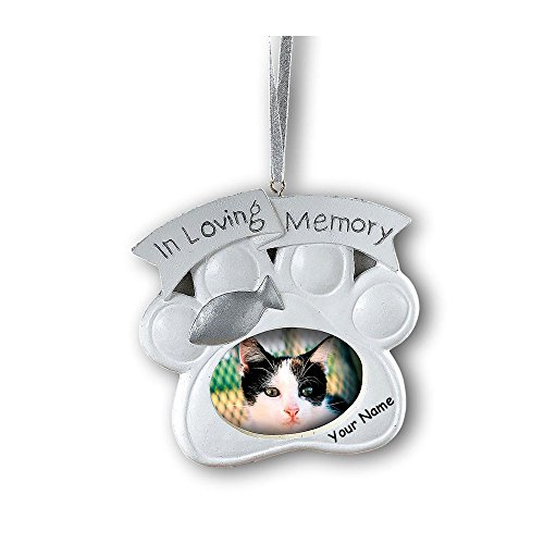 Fun Express Personalized Loving Memory Cat Pet Memorial Christmas Ornament Photo Frame with Your Pet Name